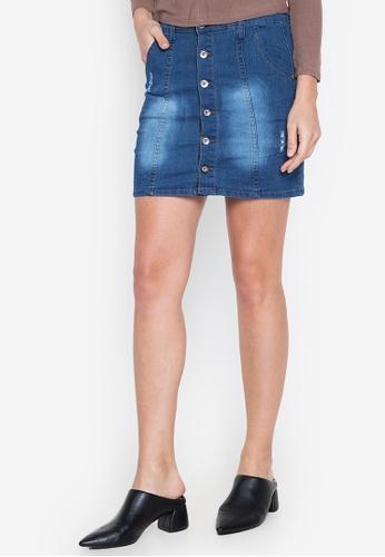 Ninety Nine Point Nine Boutiq blue Denim Faded Full-Button High-Waist Mini Skirt 21F7AAAB805B96GS_1