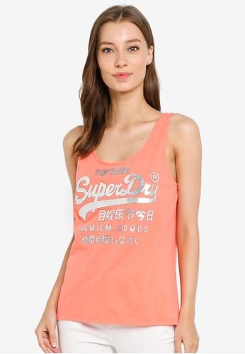 SUPERDRY orange Premium Goods Metallic Classic Tank Top C5857AA08955F3GS_1