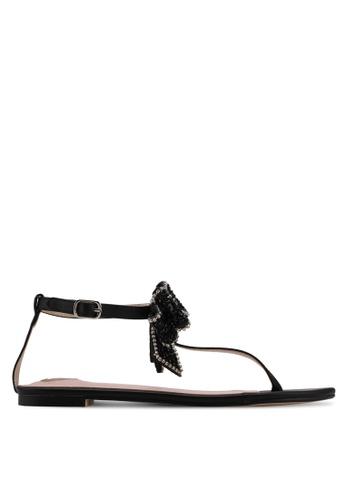 Velvet 黑色 Bow Detail Sandals 151AASH78DDD3CGS_1