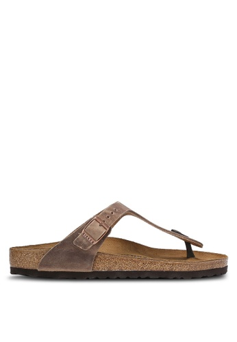 Birkenstock brown Gizeh Oiled Leather Sandals BI090SH0RCO4MY_1