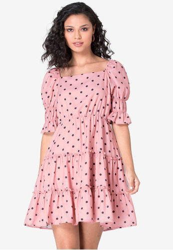FabAlley pink Polka Puff Sleeves Tiered Skater Dress F2555AA9FD6AC2GS_1