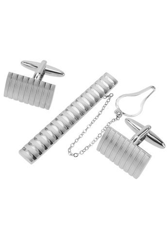 CUFF IT silver Brushed Silver Stripes Cufflinks and Tie Clip Set CU047AC85ADUHK_1