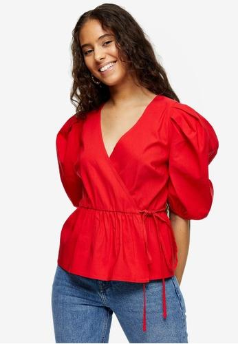 TOPSHOP red Petite Red Stretch Wrap Top 607B7AA194DA11GS_1