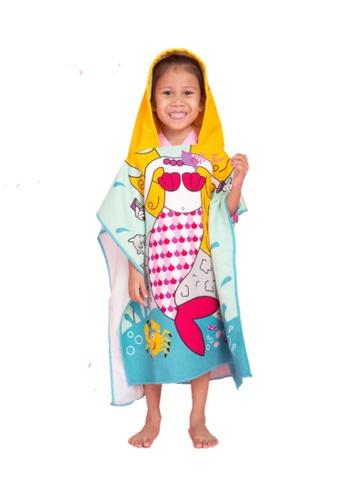 Little Two yellow and green and multi kids Beach Princess Towel Hood 6F529KC579F99CGS_1