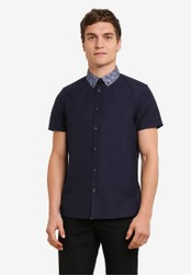 Burton Menswear London navy Short Sleeve Paisley Print Collar Oxford Shirt BU964AA0S7EKMY_1