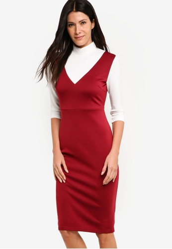 ZALORA red High Neck Scuba Dress 99C8DAA8A598DDGS_1