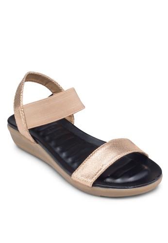 撞色彈性繞zalora時尚購物網的koumi koumi踝帶涼鞋, 女鞋, 鞋