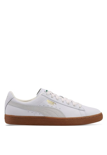 Puma white Basket Classic Gum Deluxe Shoes PU549SH0SWEAMY_1