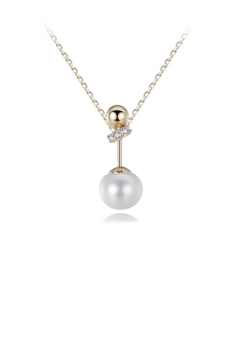 Glamorousky white 925 Sterling Silver Plated Gold Simple Fashion Geometric Round White Freshwater Pearl Pendant with Cubic Zircon and Necklace 77644AC48824ADGS_1