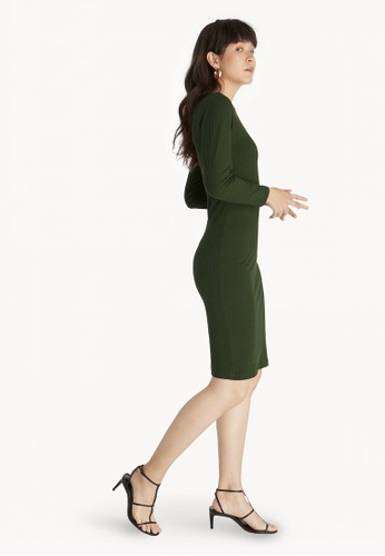 1b7bb4c3ff Buy Pomelo Midi Ribbed Long Sleeve Dress - Olive Online