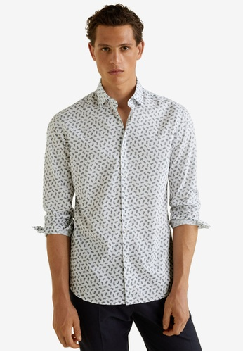 MANGO Man 白色 Slim Fit Printed Cotton Shirt 655EEAAF09DB72GS_1