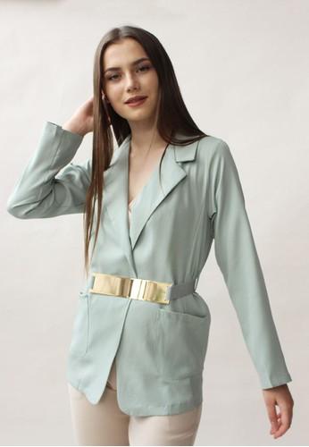 MAGNOLIA green Blazer With Gold Plates Belt 5A801AAF9150F3GS_1