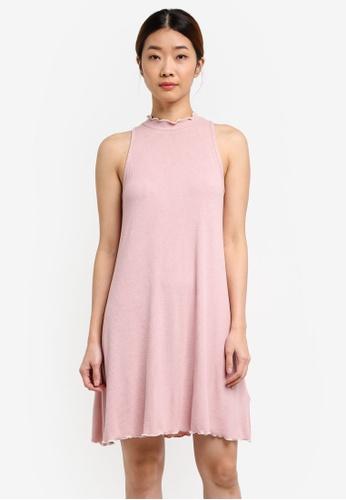 Something Borrowed pink Contrast Detail Rib Dress 6EEE1AAA55B0ACGS_1