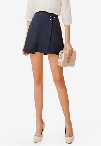 Eyescream blue Overlap A-Line Skirt 5D31BAA8B68DDAGS_1