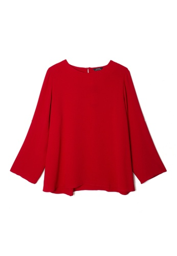 MS. READ red MS. READ Long Sleeve Round Neck Top (RED) F2F91AA5C8775DGS_1