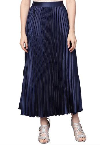 SASSAFRAS blue Blue Satin Pleated Maxi Skirt 6AAC9AA2991A5EGS_1