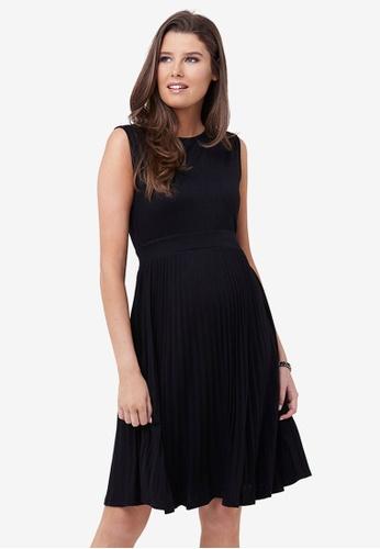 Ripe Maternity black Maternity Knife Pleat Dress 52E85AA4DAC54FGS_1