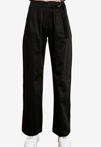 Trendyol black Belted Mid Waist Trousers 93F5FAAE20A3FDGS_1