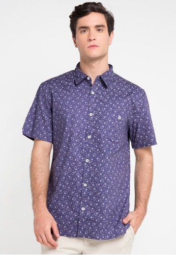 Tolliver navy Printed Short Sleeve Shirt TO631AA0VUV8ID_1