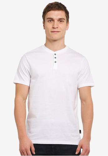Burton Menswear London 白色 Short Sleeve White Grandad T-Shirt BU964AA0SILUMY_1