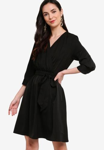 ZALORA WORK black Wrap Dress With Self-Tie DBC1CAA484A940GS_1