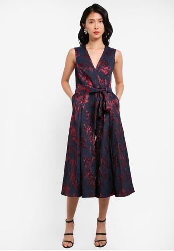 ZALORA red Jacquard Wrap Culotte Jumpsuit 58579AACBABE01GS_1