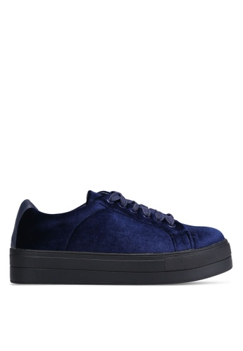Something Borrowed blue Velvet Lace Up Sneakers 69236SH49292EFGS_1