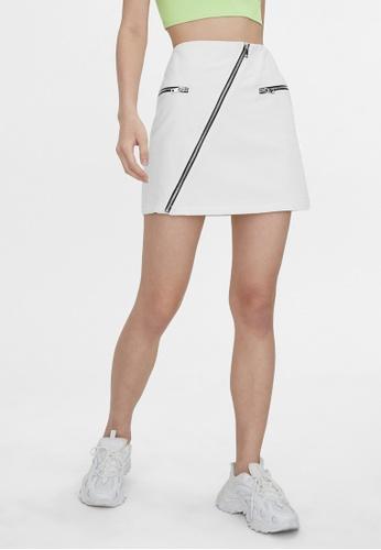 Pomelo white Asymmetric Zipper Mini Skirt - White 06A98AA8F8B811GS_1