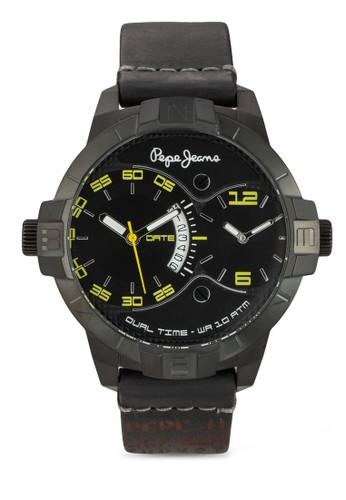 R23esprit 台中51107002 Marlon 雙時區皮革男士圓錶, 錶類, 飾品配件