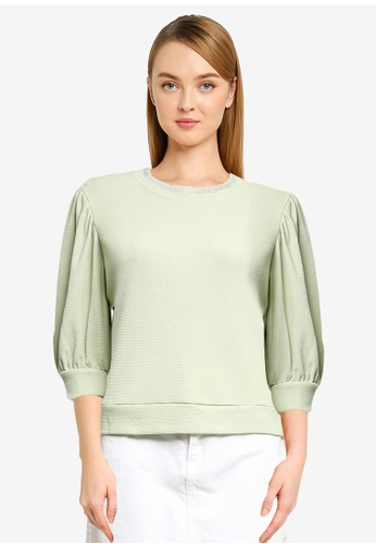 JACQUELINE DE YONG green Flagstaff 3/4 Sweat Top C1DD4AA99A9186GS_1