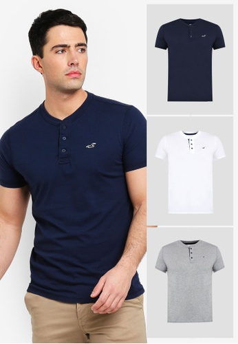 3214db2578e372 ... hollister short sleeve henley multipack t shirts zalora hk ...