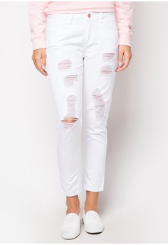 Styled White Boyfriend Jeans with Distress Detail
