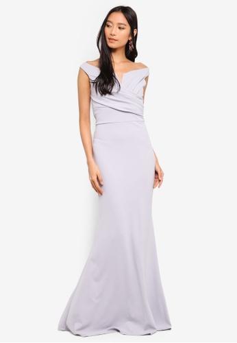 WALG grey Off Shoulder Maxi Dress 45E65AA090B3E6GS_1