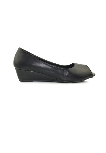 SHINE black Peep Toe Wedges Pumps SH554SH0FVIUSG_1