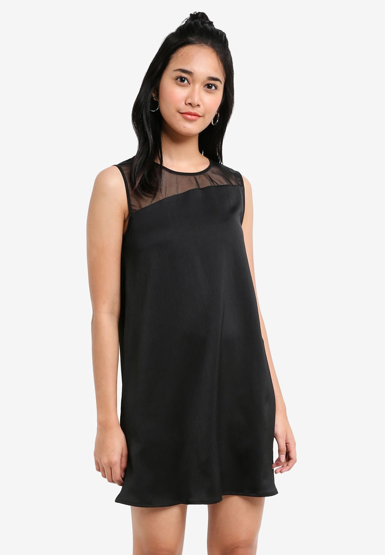 Something Borrowed Dress Sleeveless Swing Black Asymmetric qFS7tt