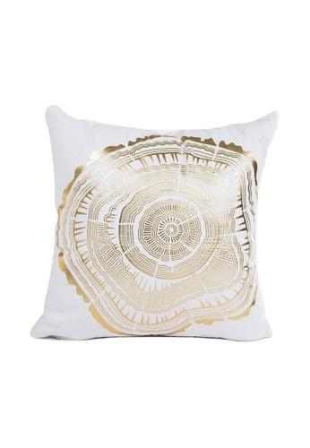 DILAS HOME Ring Gold Print Cushion Cover ADA82HL0C55B8CGS_1