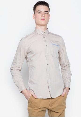 Springfield beige Pinpoint Knit  Long Sleeve Shirt 797B5AA1B041E1GS_1