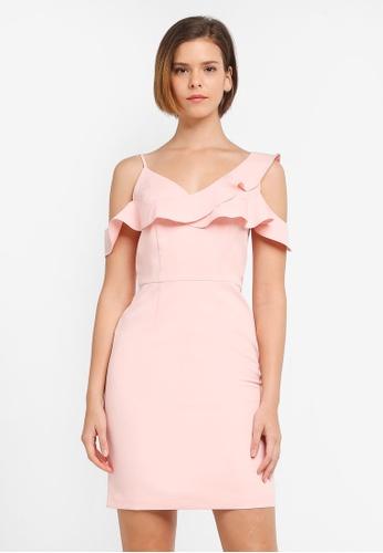 ZALORA pink Cross Frill Neckline Dress D31D8AAD12BBD8GS_1