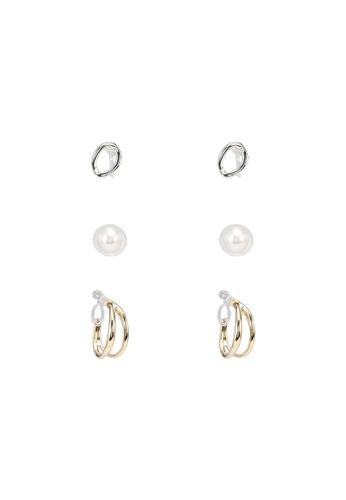 GLOBAL WORK white 3-Pack Earrings BE823AC489F675GS_1
