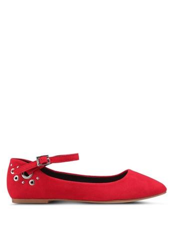 Nose 紅色 鉚釘繞踝平底鞋 EA7F5SH04F16D1GS_1