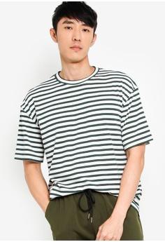 8f8e21644b3e ZALORA BASICS white Basic Oversized Stripe T-Shirt 3A983AA9A2DD1FGS_1