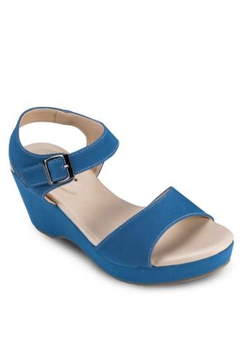 針扣繞踝帶楔型鞋, 女鞋, 楔形涼zalora 評價鞋