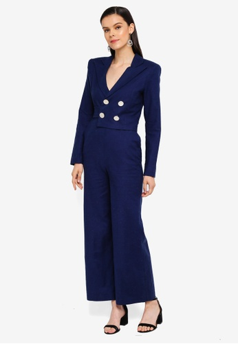 AfiqM navy Double Breasted Jumpsuit CF827AA2BA697BGS_1