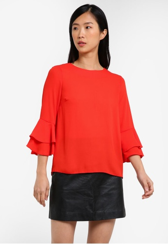 Dorothy Perkins red Red Double Ruffle Sleeve Top DO816AA0RY05MY_1