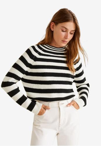 Mango black and beige Striped Cotton Sweater 7F1B6AACA75792GS_1