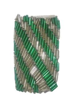 STRAP STYLERS - Silver & Emerald diagonal stripes