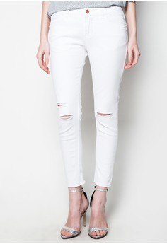 Styled White Cigarette Jeans with Distress