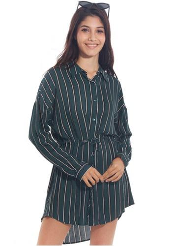 Kitschen green Hi-Lo Stripe Shirtdress 2168CAA6FD969EGS_1