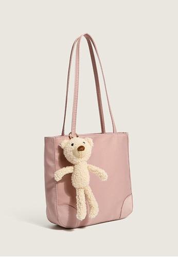 Lara pink Women's Minimalist Plain Leather Tote Bag Shoulder Bag With Bear Charm - Pink 5468FACA33279DGS_1