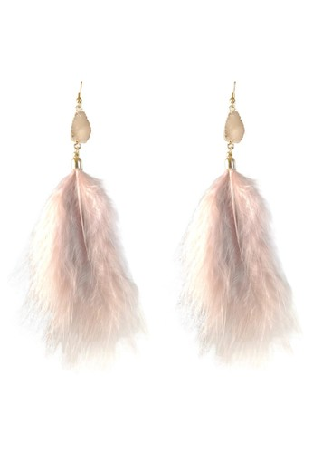 La Miina pink Isabel Long Feather Drop Earrings F8CC6AC0D5063FGS_1